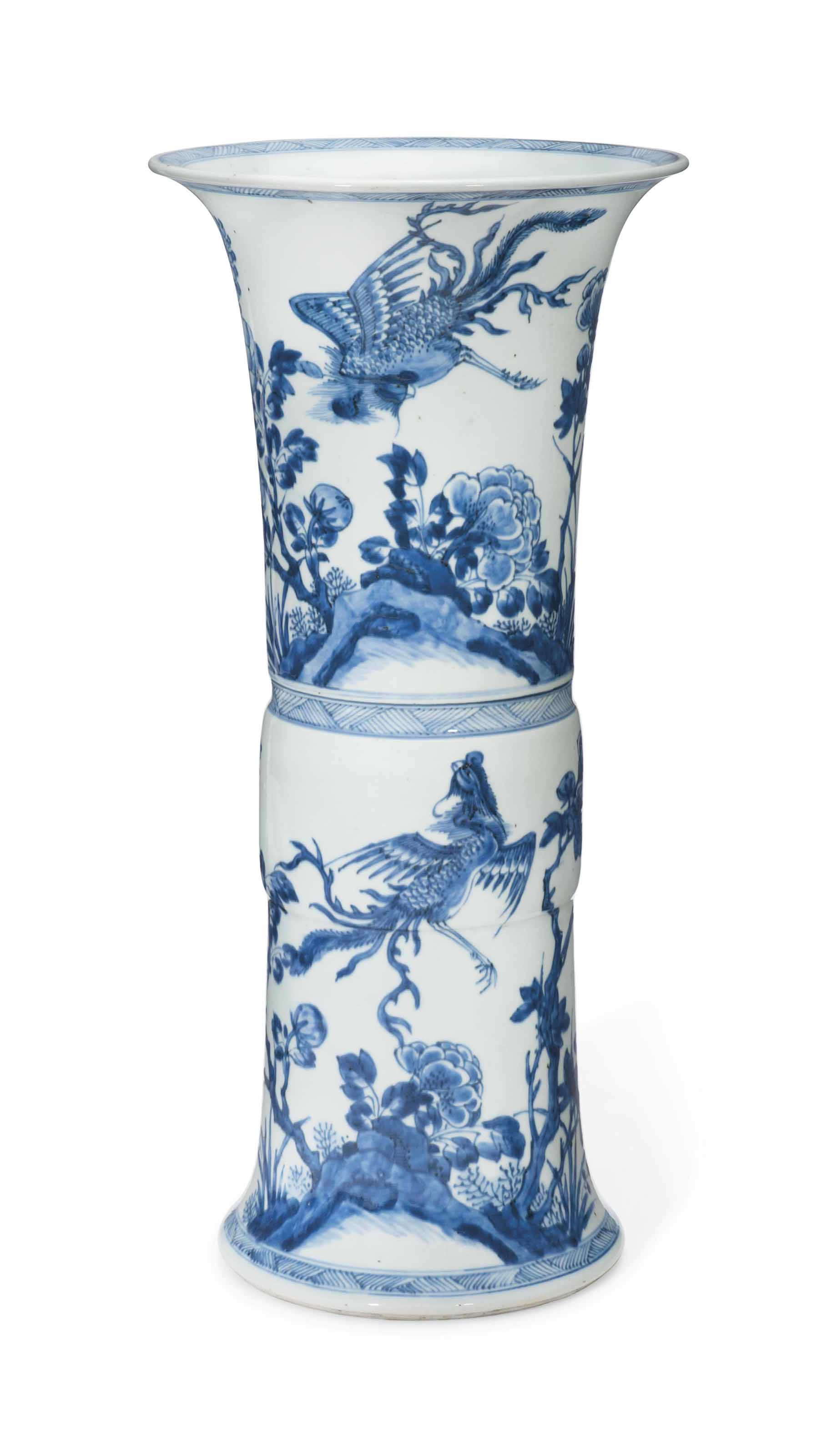A CHINESE BLUE AND WHITE VASE,