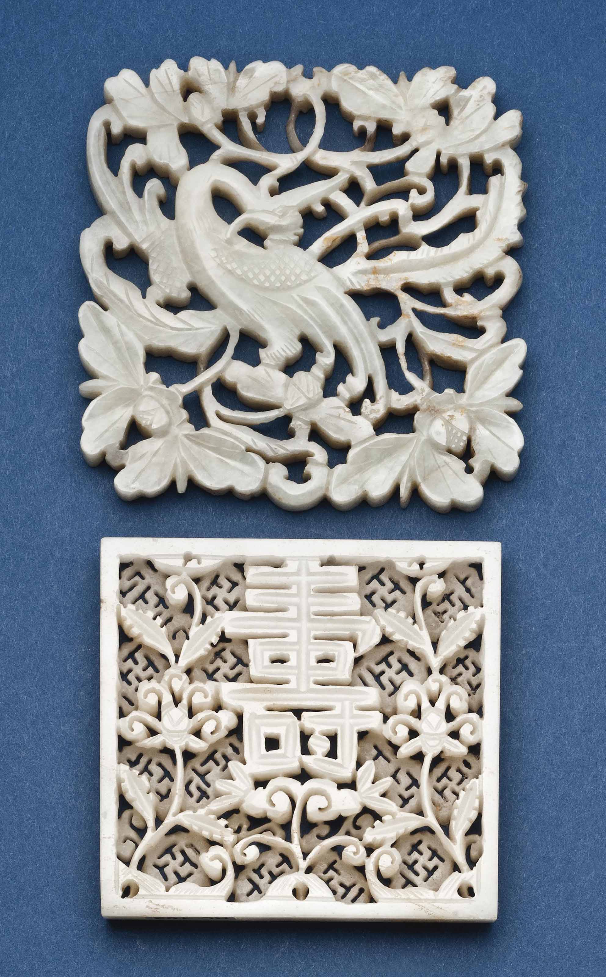A CHINESE CELADON PLAQUE AND A