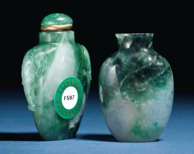 TWO SMALL CHINESE JADEITE SNUF