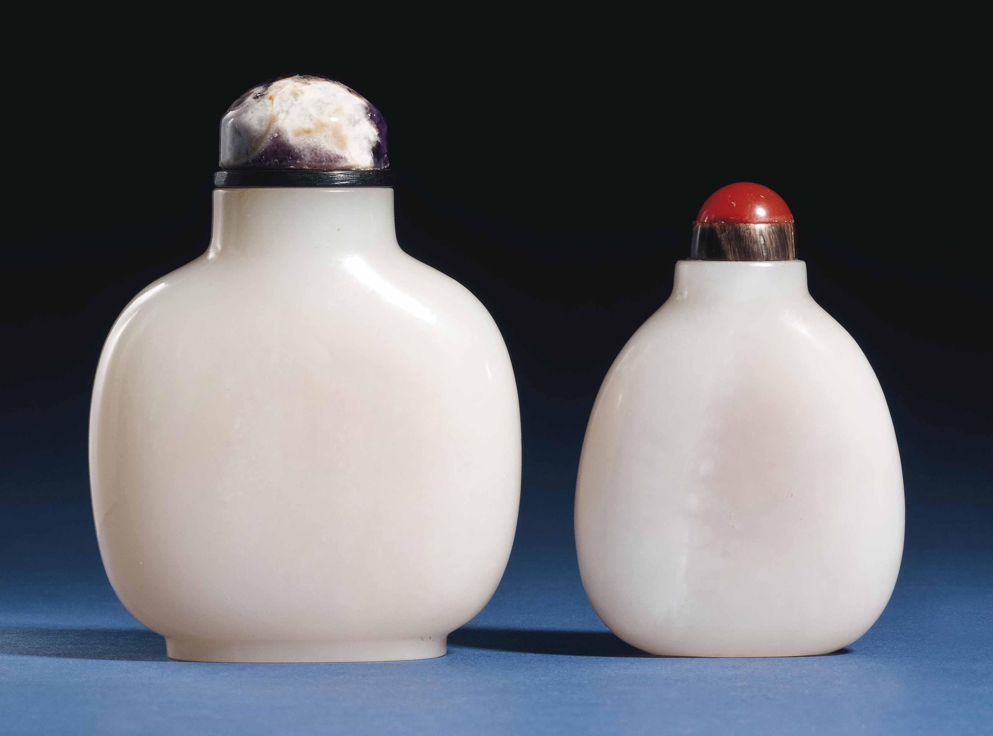 TWO CHINESE WHITE JADE SNUFF B
