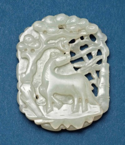 A CHINESE PALE CELADON JADE PL
