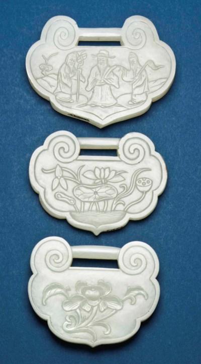 THREE CHINESE CELADON JADE RUY