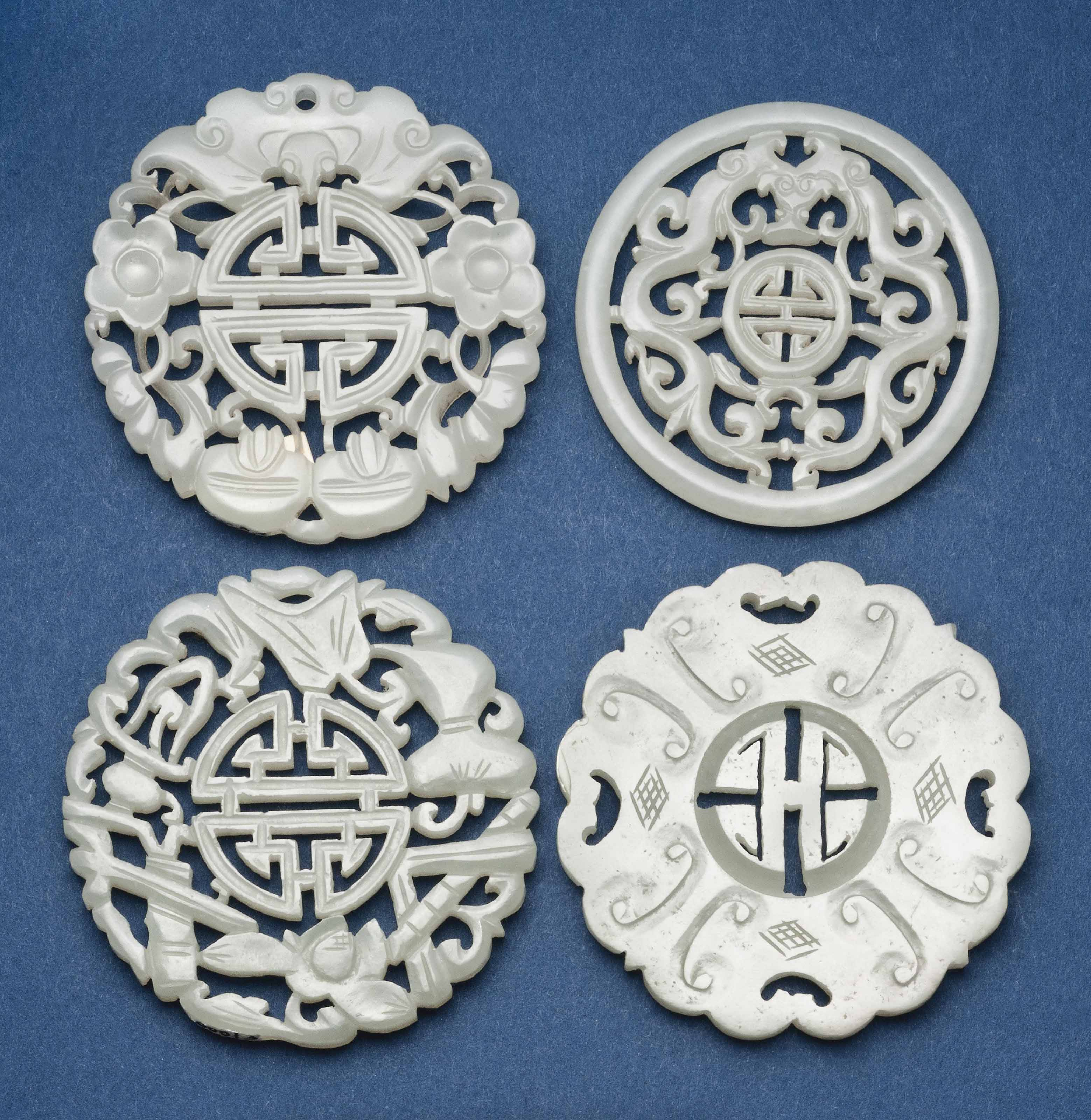 FOUR CELADON JADE CARVED AND P
