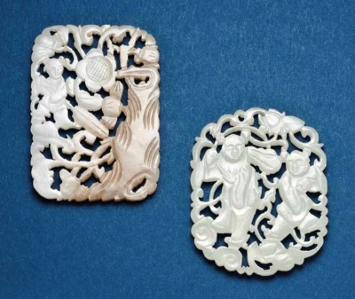 TWO CHINESE JADE CARVED AND PI