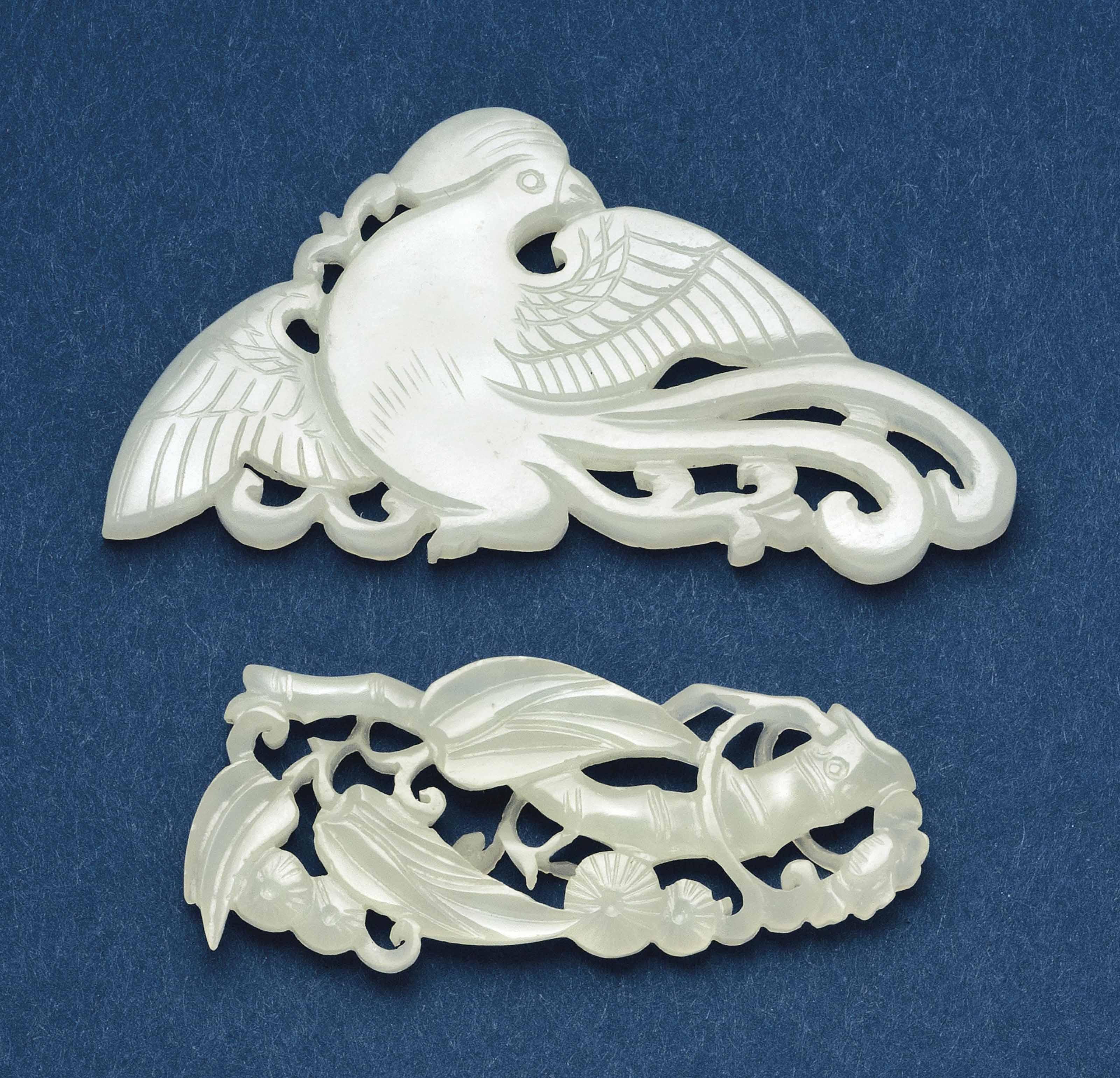 TWO CHINESE WHITE JADE FLATTEN