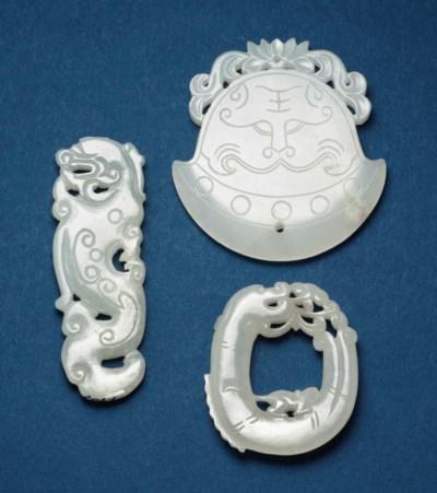 THREE CHINESE WHITE JADE PLAQU