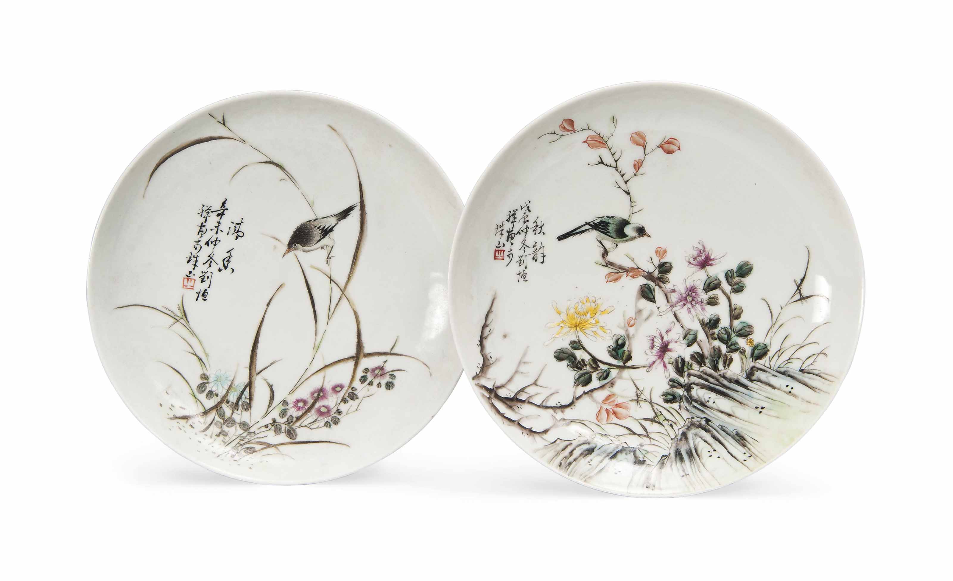 TWO CHINESE ENAMELLED DISHES