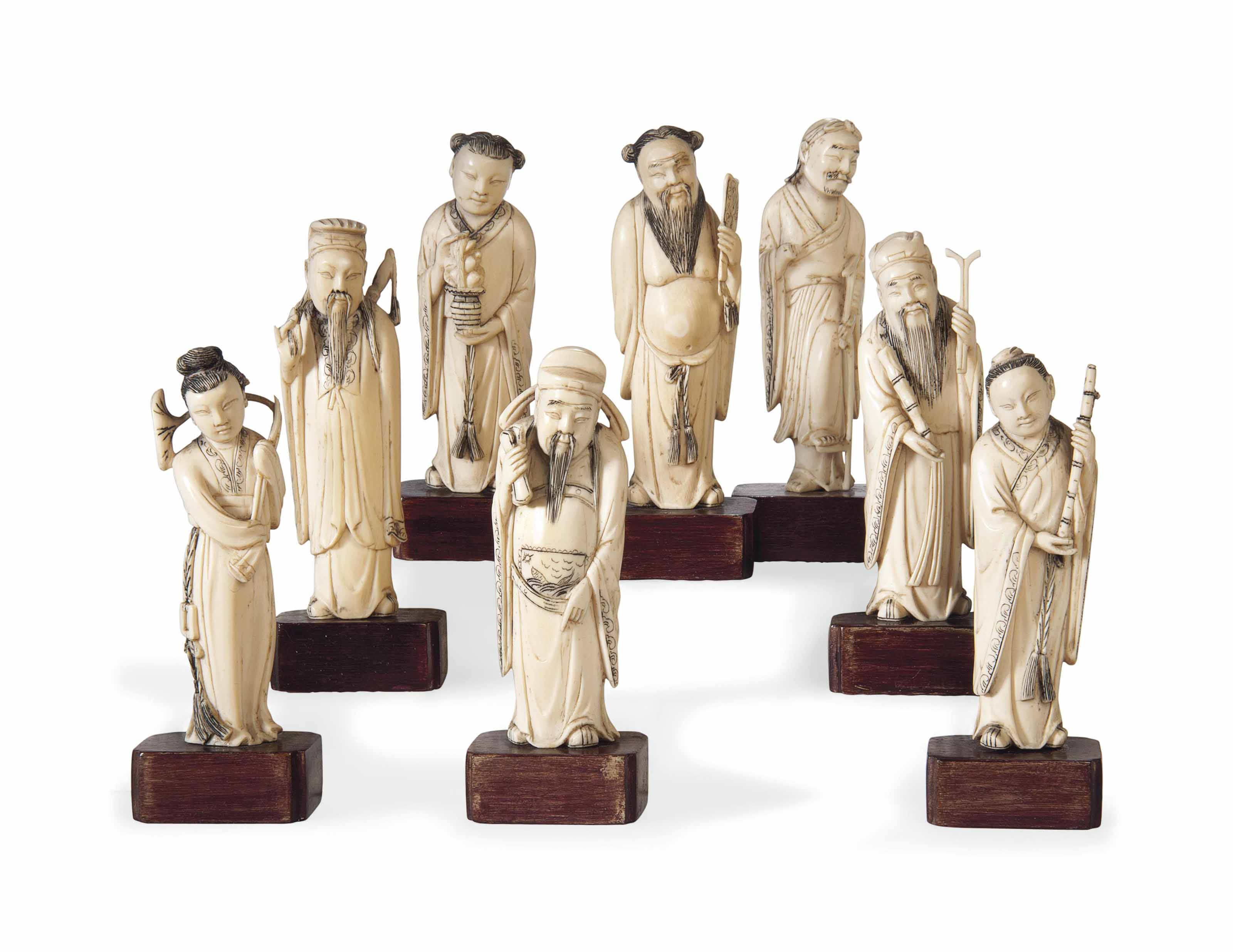 A SET OF EIGHT CHINESE IVORY I