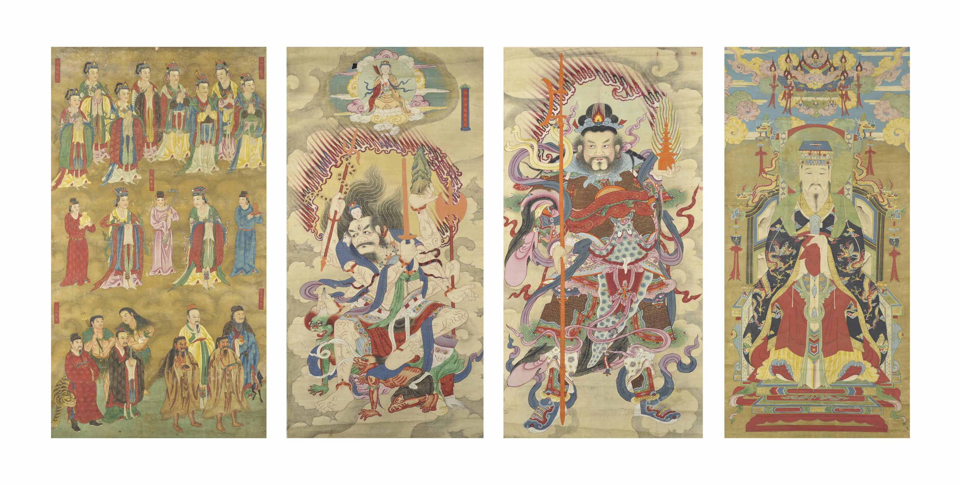 FOUR CHINESE PAINTINGS OF IMMO