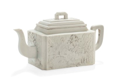 A CHINESE WHITE BISCUIT TEAPOT