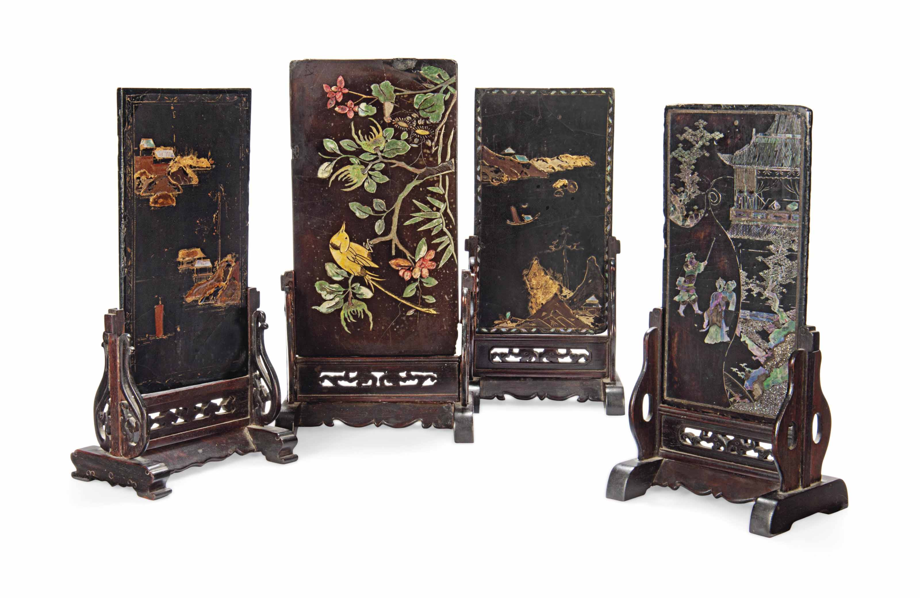 FOUR CHINESE LACQUERED, GILT A