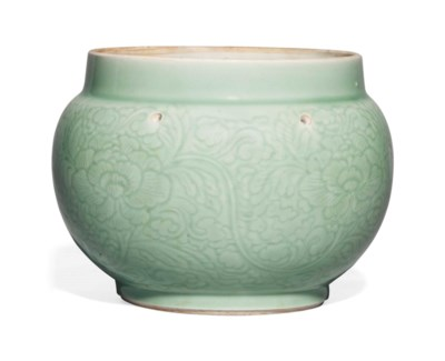 A CHINESE CARVED CELADON-GLAZE