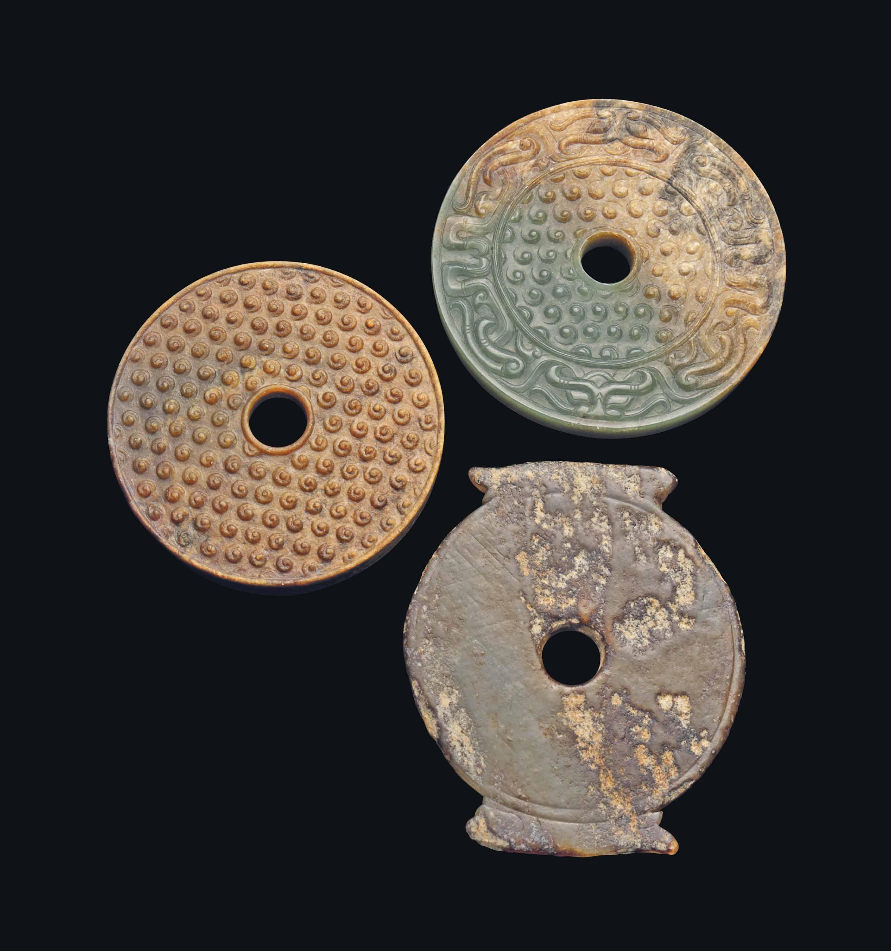 THREE CHINESE JADE BI DISCS
