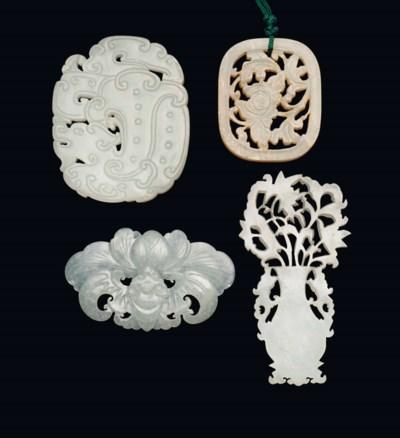 FOUR CHINESE WHITE JADE PIERCE