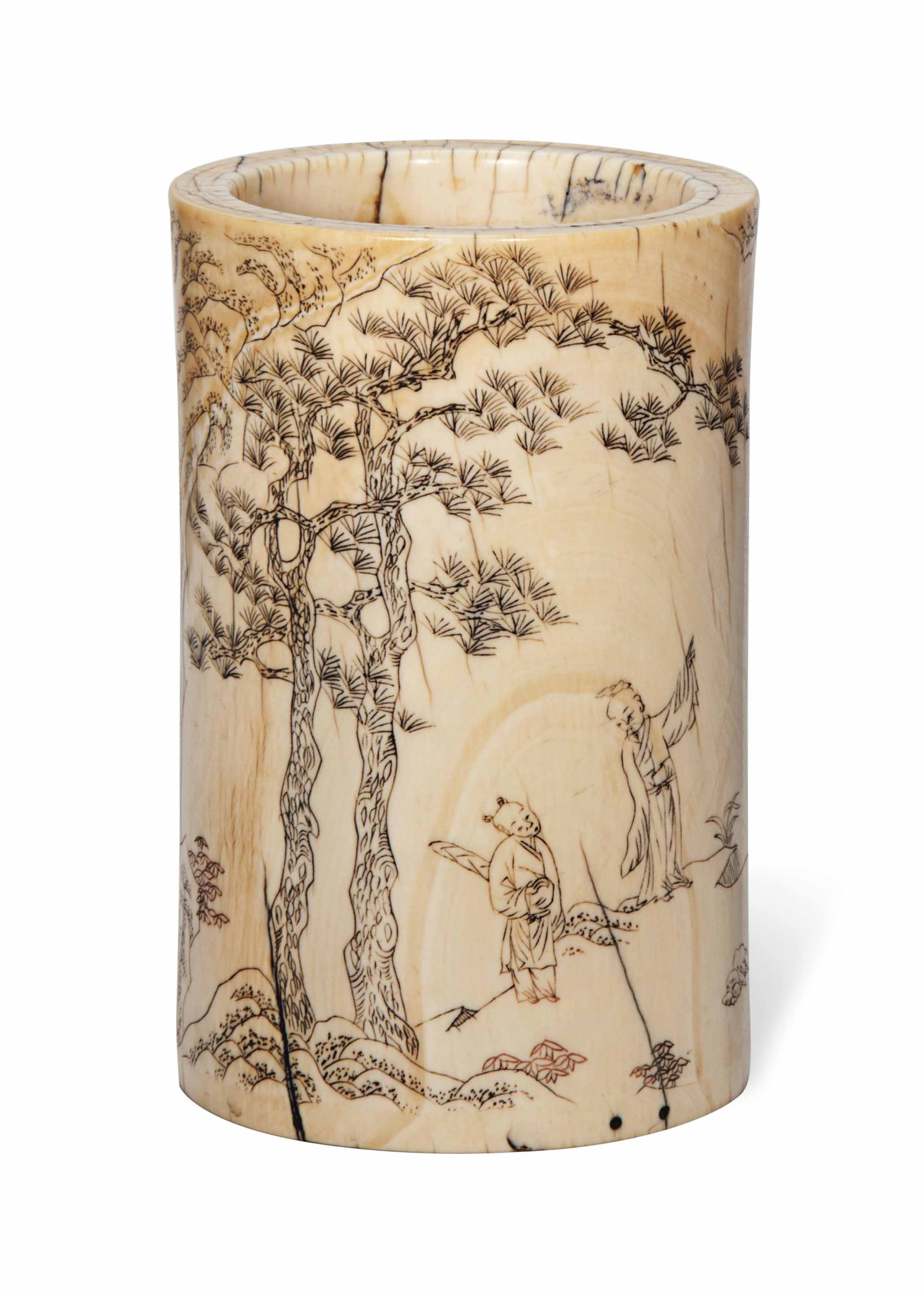 A CHINESE IVORY  BRUSHPOT