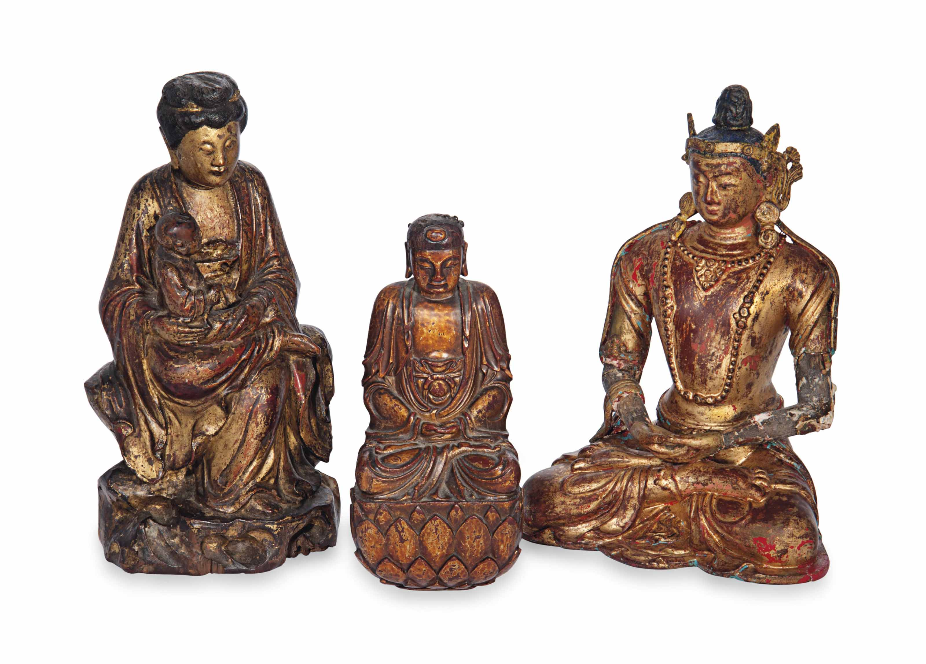 THREE CHINESE GILT-LACQUERED W