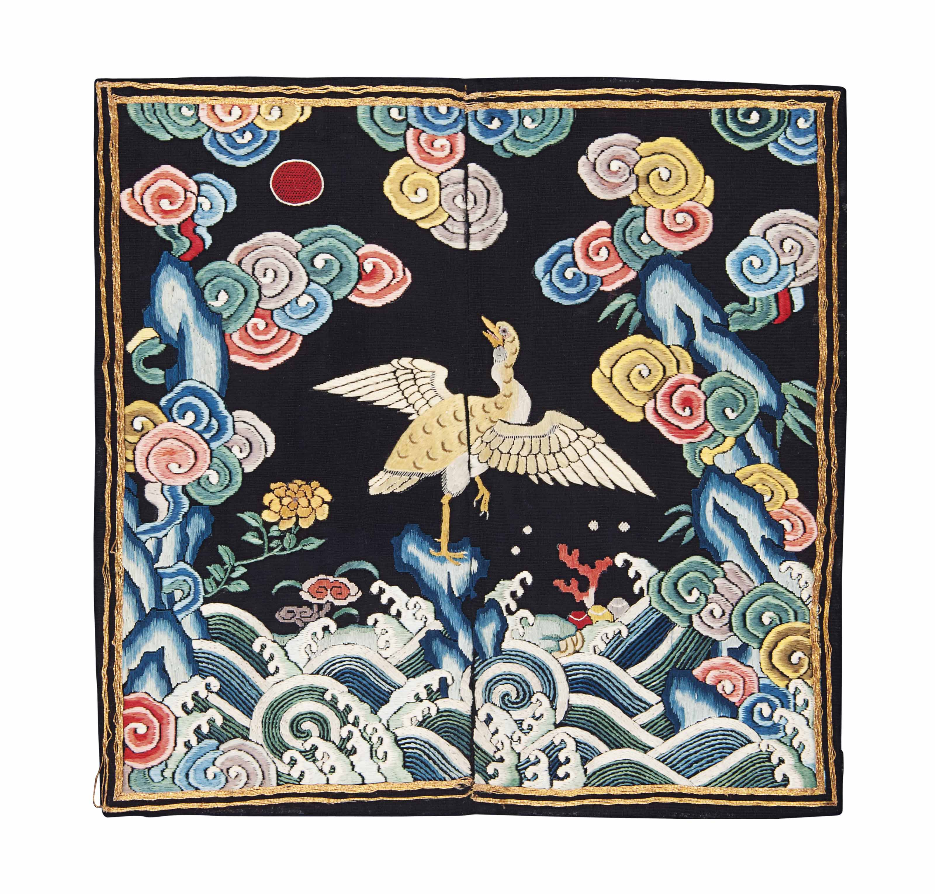 A CHINESE EMBROIDERED GAUZE CI