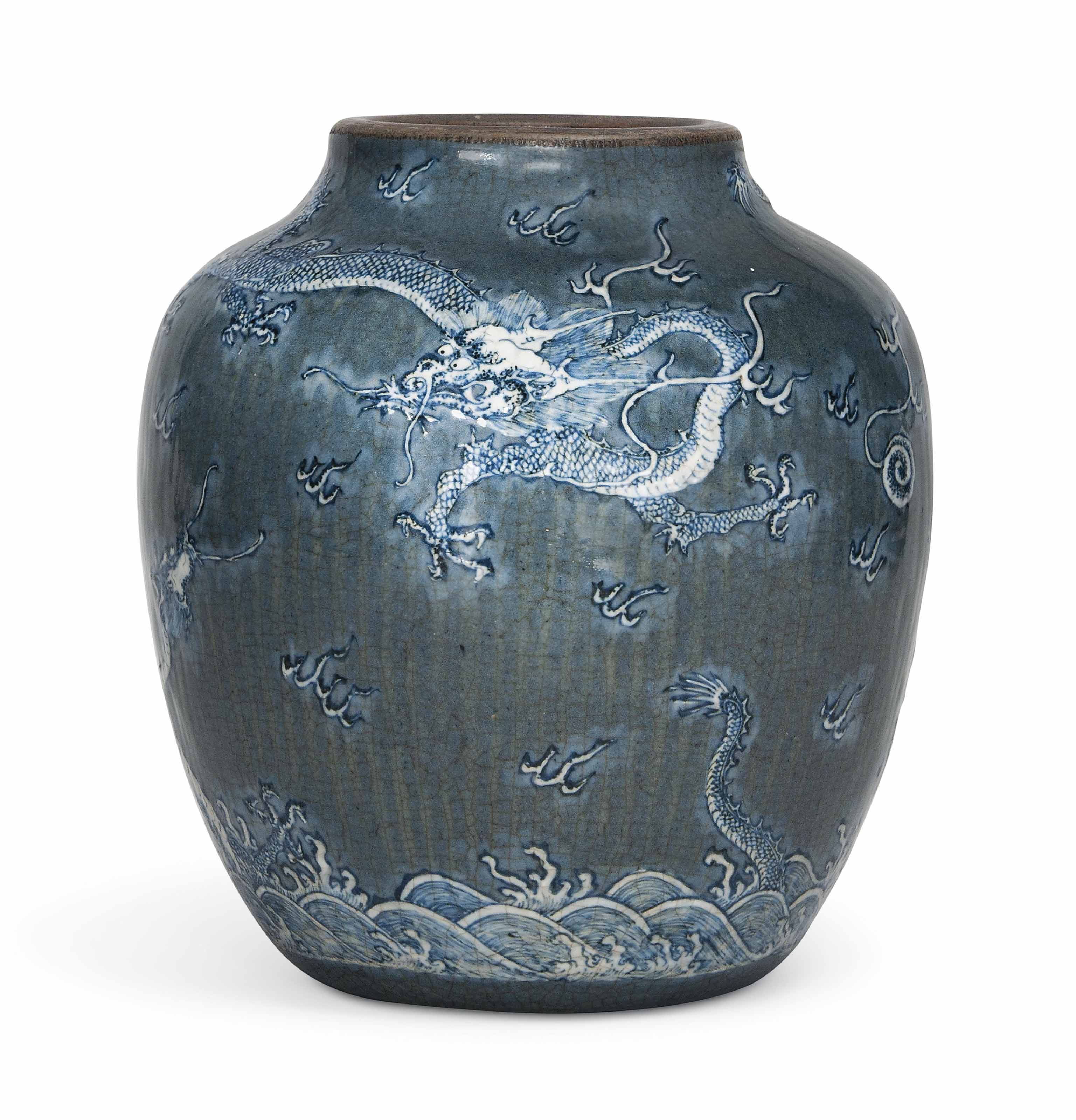 A CHINESE BLUE-GROUND MOULDED