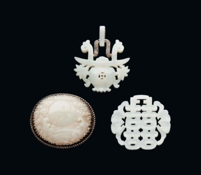 THREE WHITE JADE PLAQUES
