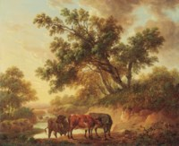 Cattle by a river, evening
