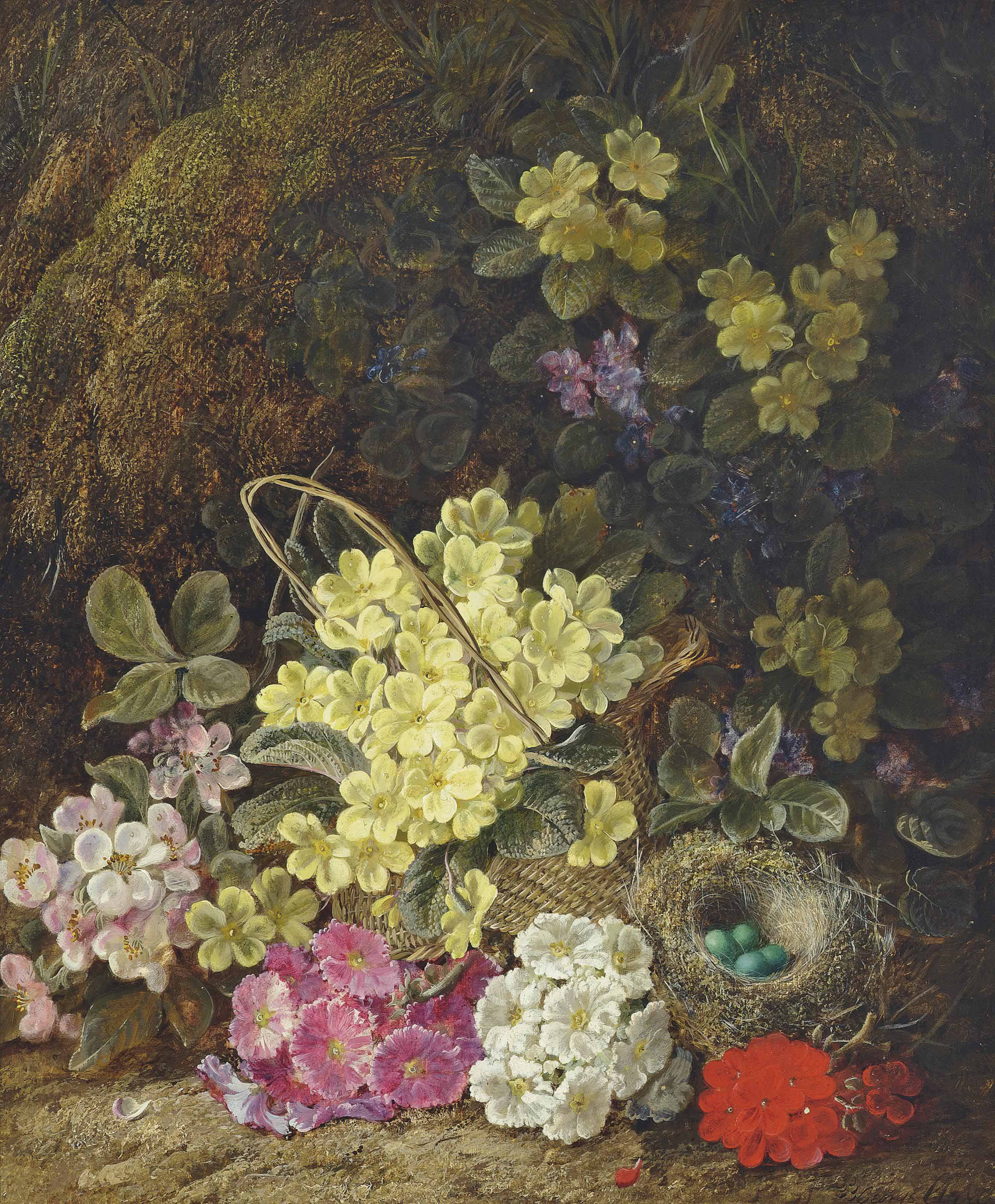 Primroses, forget-me-nots, geraniums, a wicker basket and eggs in a nest on a sandy bank