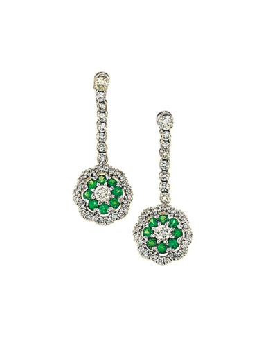 A pair of diamond and green ga