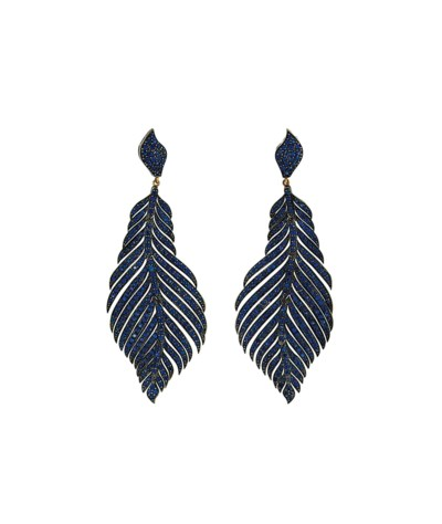 A pair of sapphire pendent ear