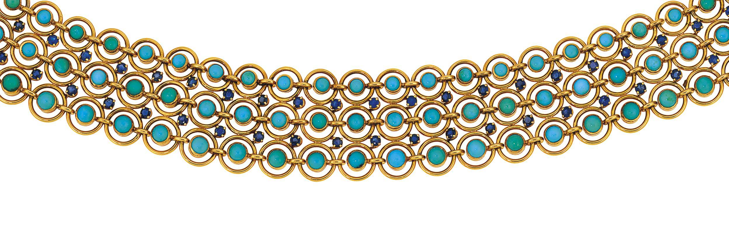 A turquoise and sapphire choker, by Mellerio