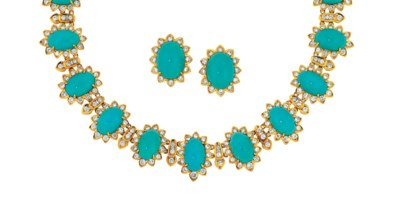 A turquoise and diamond neckla