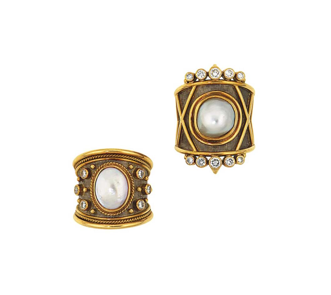 Two 18ct gold, cultured mabé pearl and diamond rings, by Elizabeth Gage