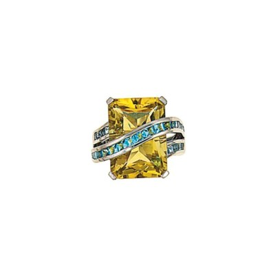 A citrine and topaz ring