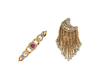 A diamond-set brooch and a rub