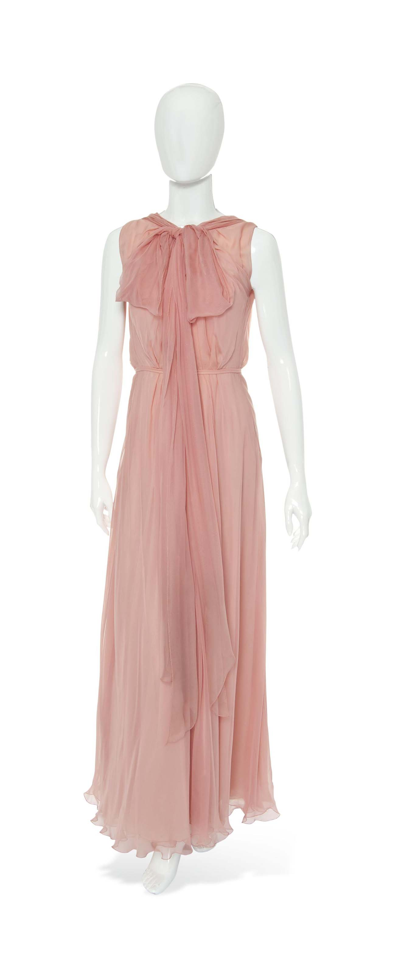 A CHANEL PINK CHIFFON EVENING GOWN | 1975 | 1970s, dress | Christie\'s