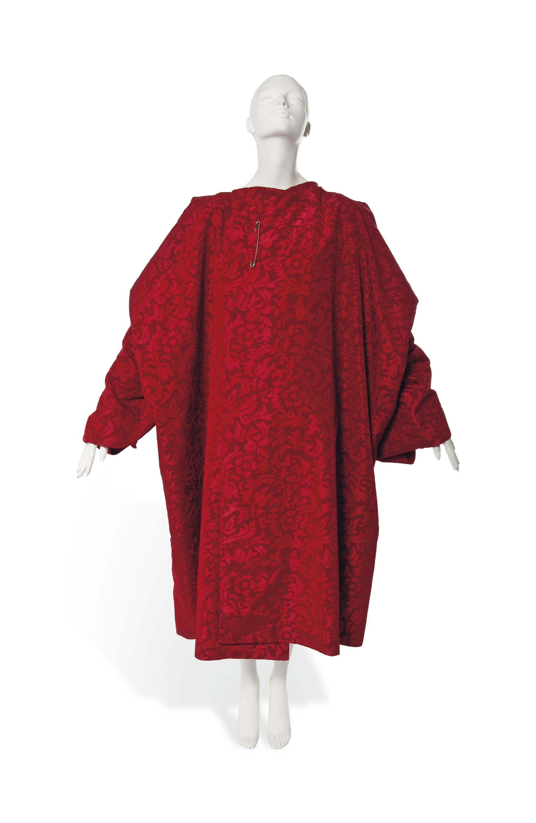 A COMME DES GARÇONS CHERRY RED TAFFETA VELVET EVENING CLOAK