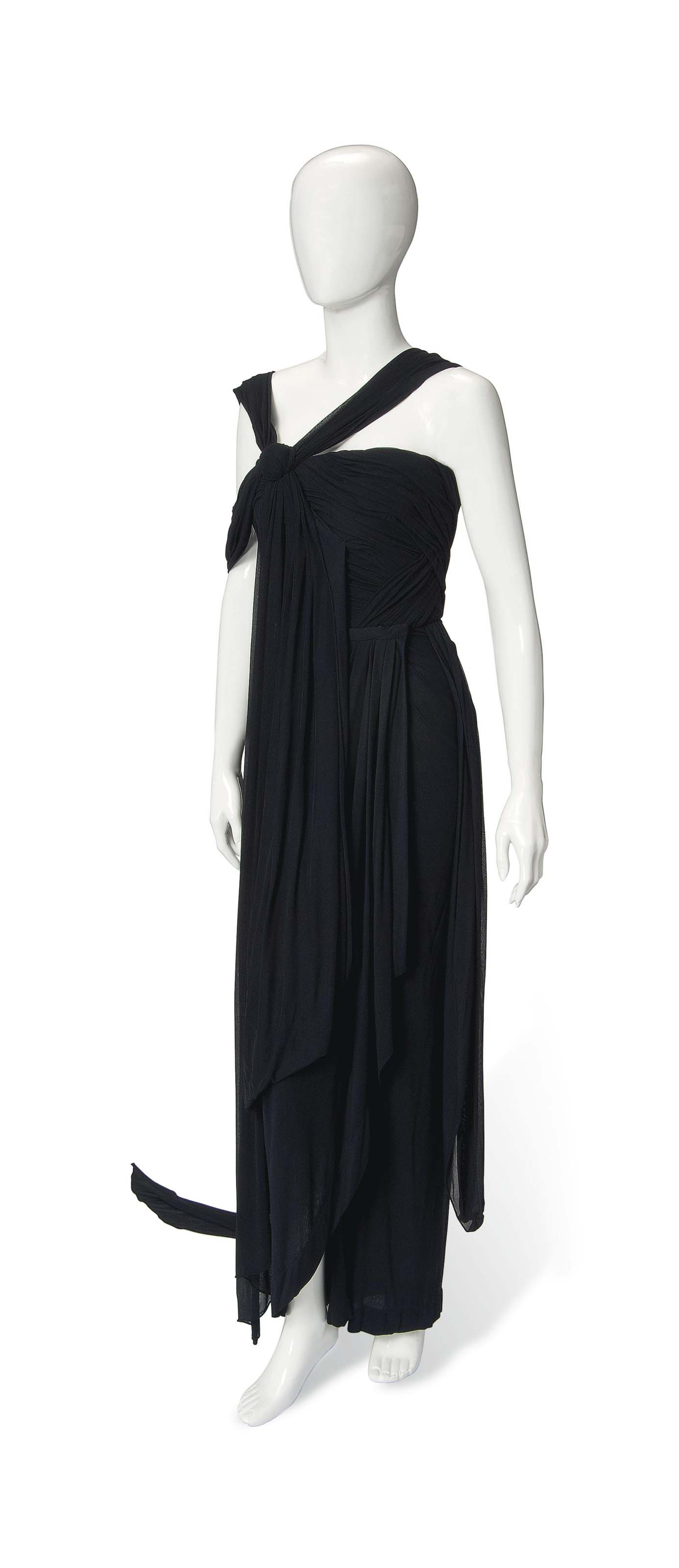 A JEAN PAUL GAULTIER GRECIAN DRAPED EVENING GOWN OF BLACK SILK JERSEY