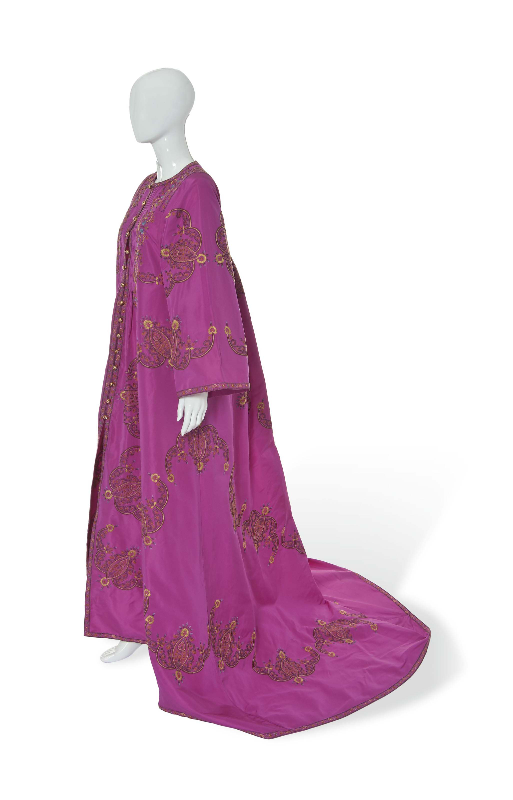 AN OSCAR DE LA RENTA EASTERN EVENING COAT AND TROUSERS AND A COCKTAIL GOWN