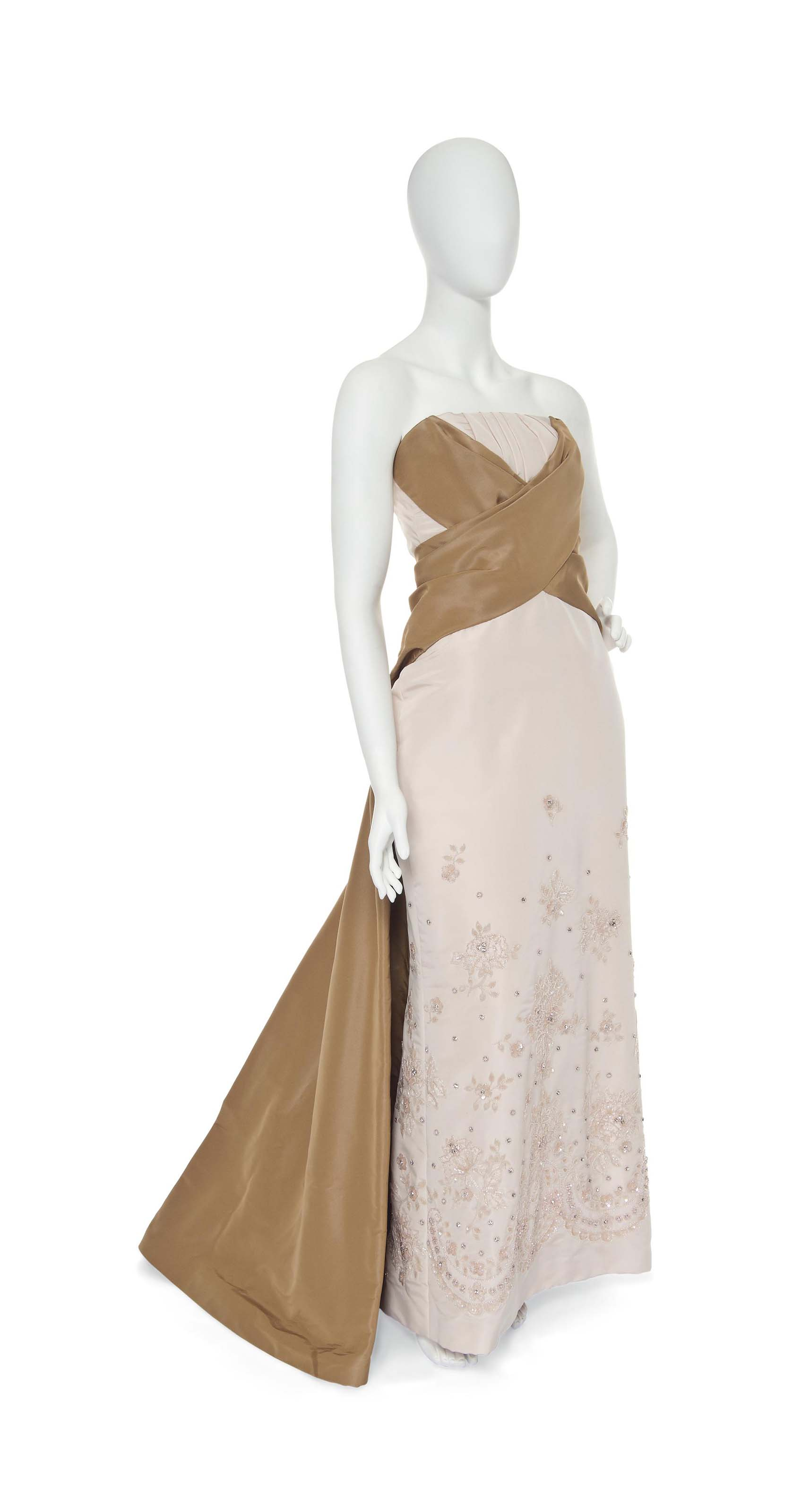 A JOHN GALLIANO FOR CHRISTIAN DIOR NUDE PINK GROSGRAIN EVENING GOWN