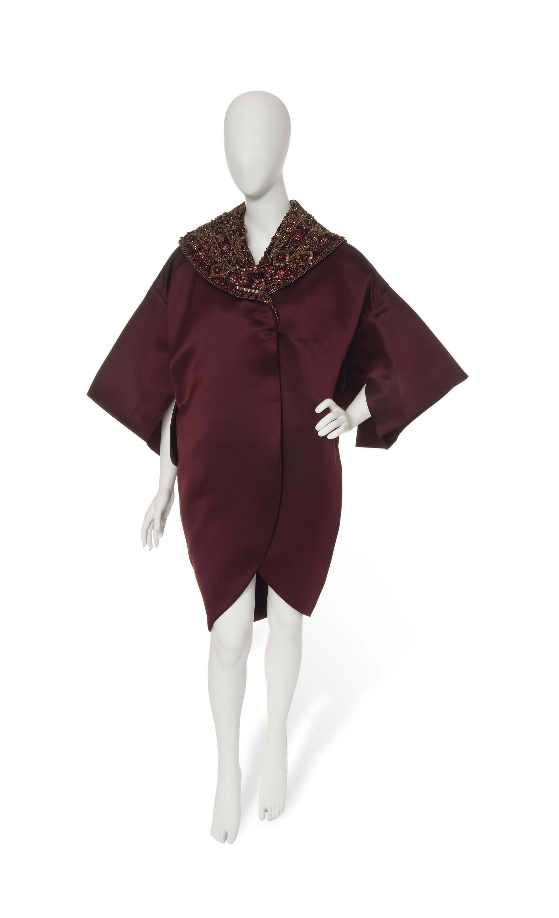A JOHN GALLIANO FOR CHRISTIAN DIOR MULBERRY SATIN EVENING COAT