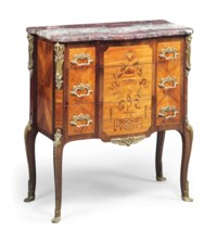 A FRENCH ORMOLU-MOUNTED AMARANTH, KINGWOOD AND MARQUETRY COMMODE