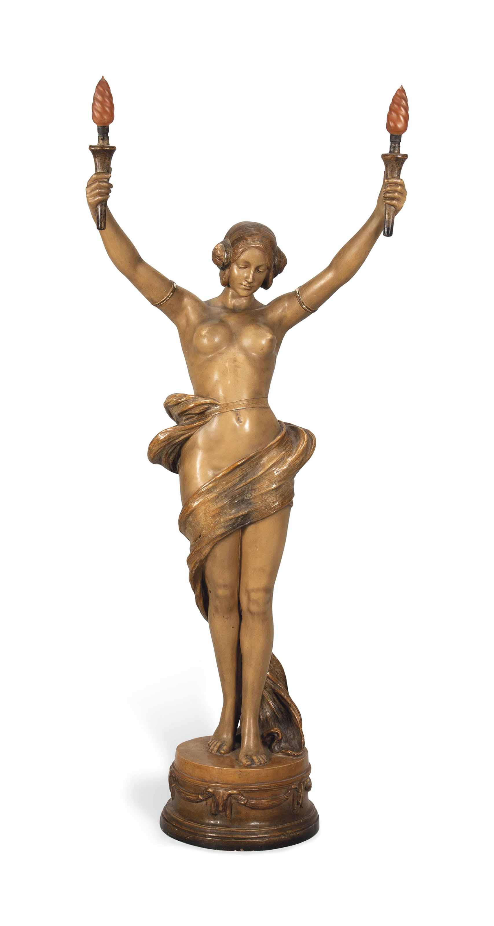 A LARGE GOLDSCHEIDER FIGURAL LAMP AFTER A MODEL BY CHERC