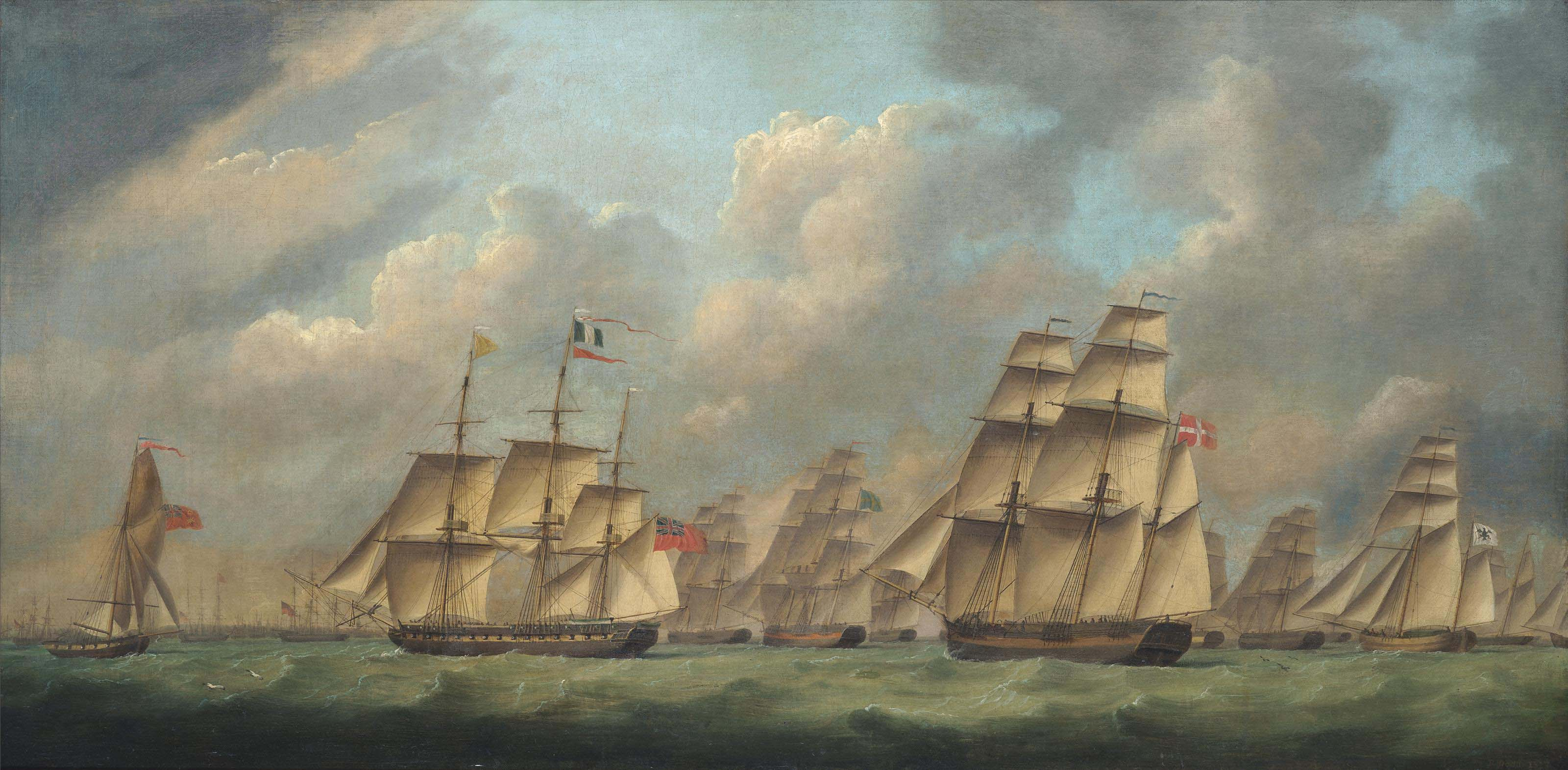 An English frigate escorting a large international merchant convoy