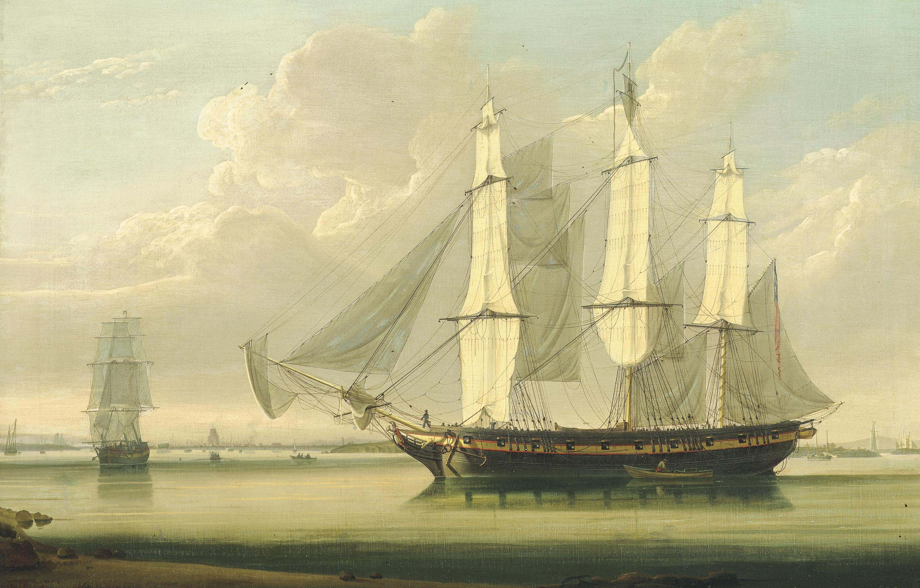 An armed packet drifting along the Thames off Woolwich with Galleons Reach astern of her and the East India Dock and its masting house observed off her starboard bow