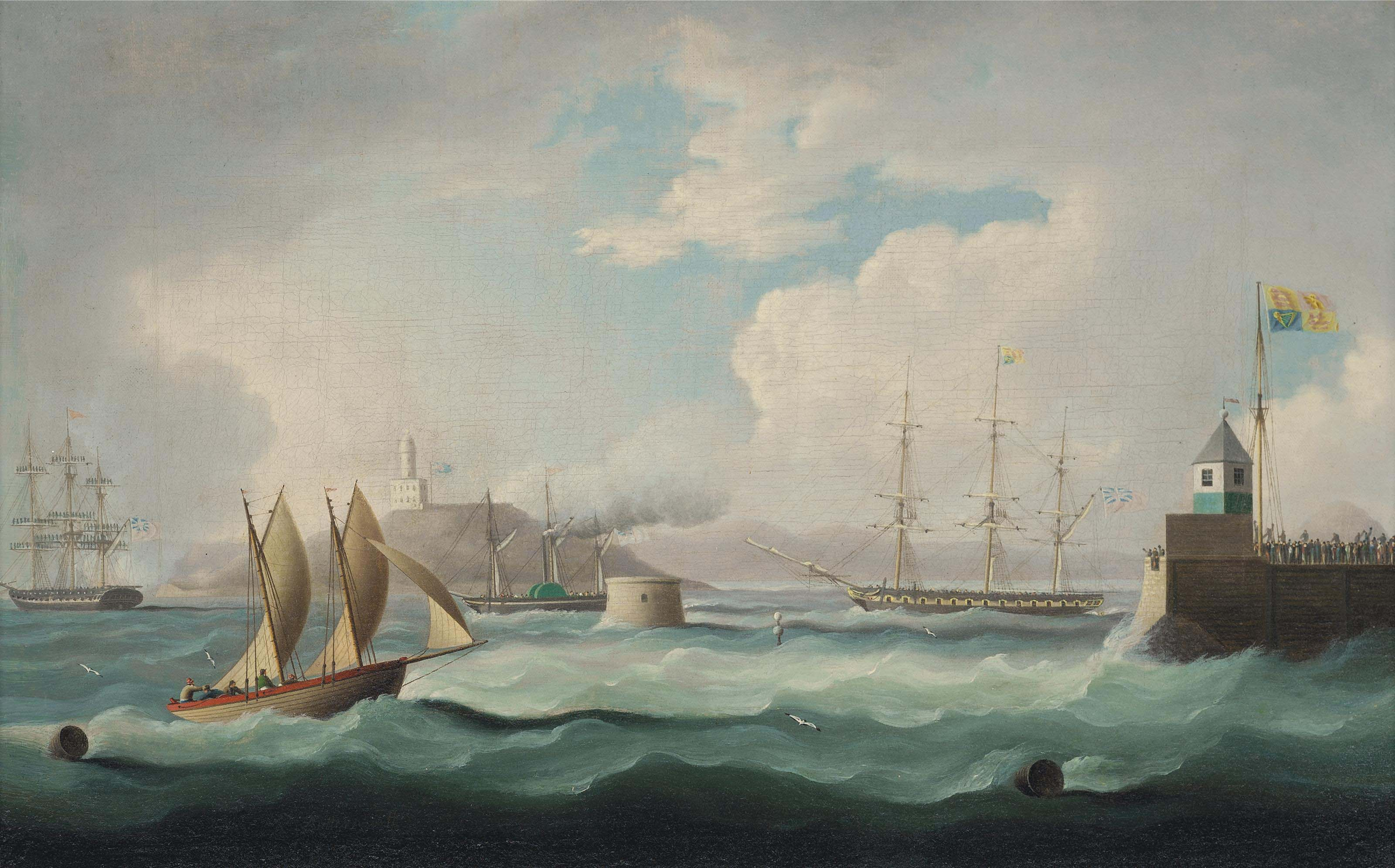 The arrival of H.M. King George IV in the Firth of Forth, on 14th August 1822, aboard H.M.Y. Royal George, accompanied by the Royal flotilla, for the first visit of a reigning Monarch to Scotland since 1650