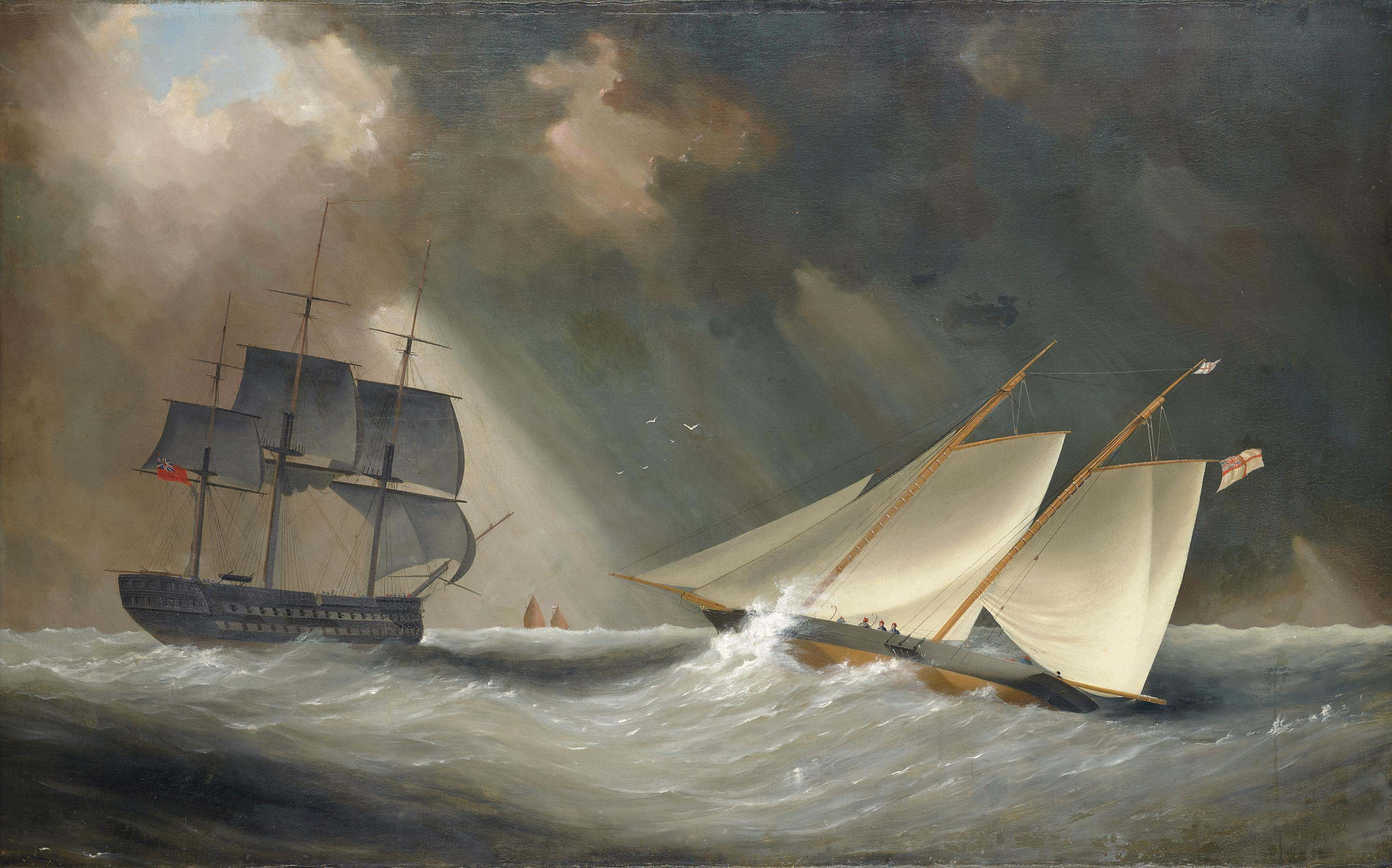 A racing schooner of the Royal Yacht Squadron, thought to be Camilla, heeling in the breeze in the Channel with a Royal Navy two-decker about to cross ahead of her