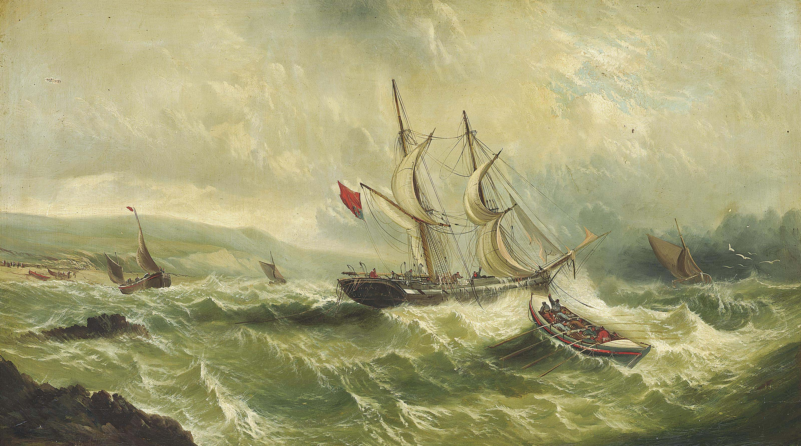 A lifeboat coming to the rescue of the merchant brig Mary of Dundee in distress off the south coast