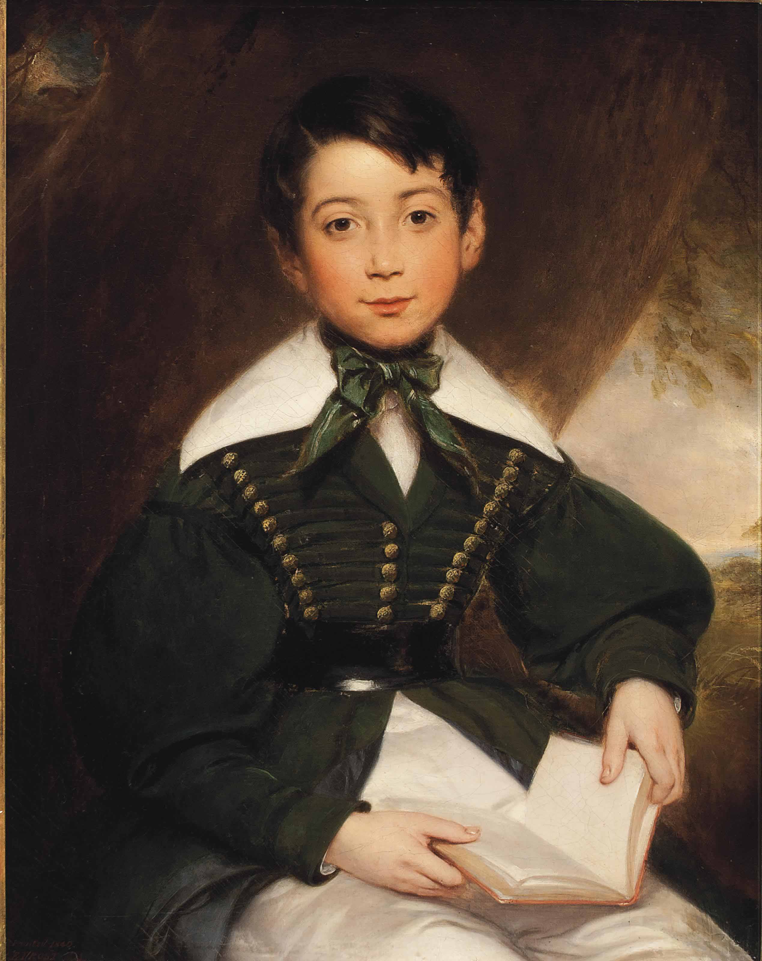 Portrait of a young boy, seated, three-quarter-length, in a green jacket and cravat