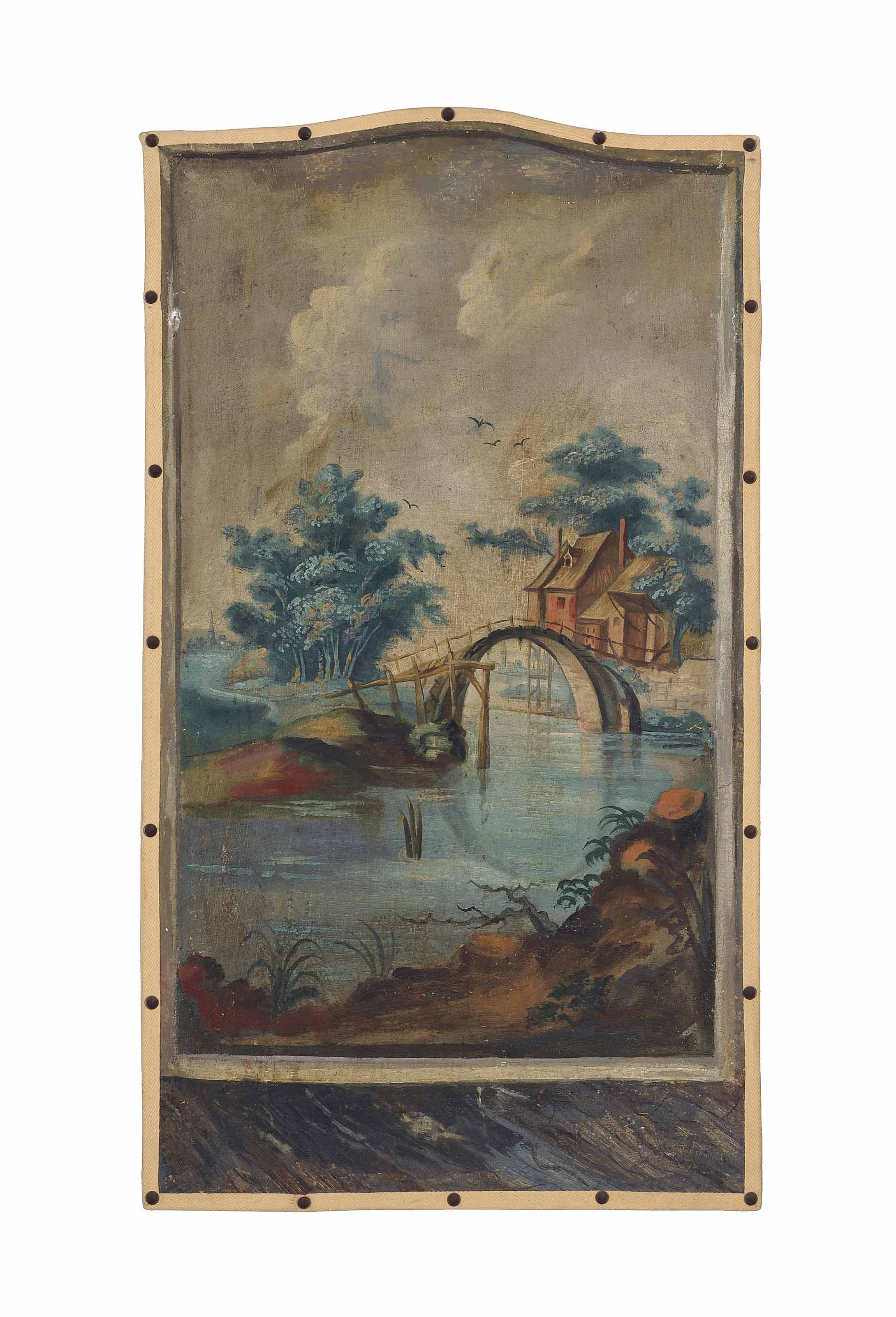 Dutch School, 18th Century | A river landscape with a windmill by