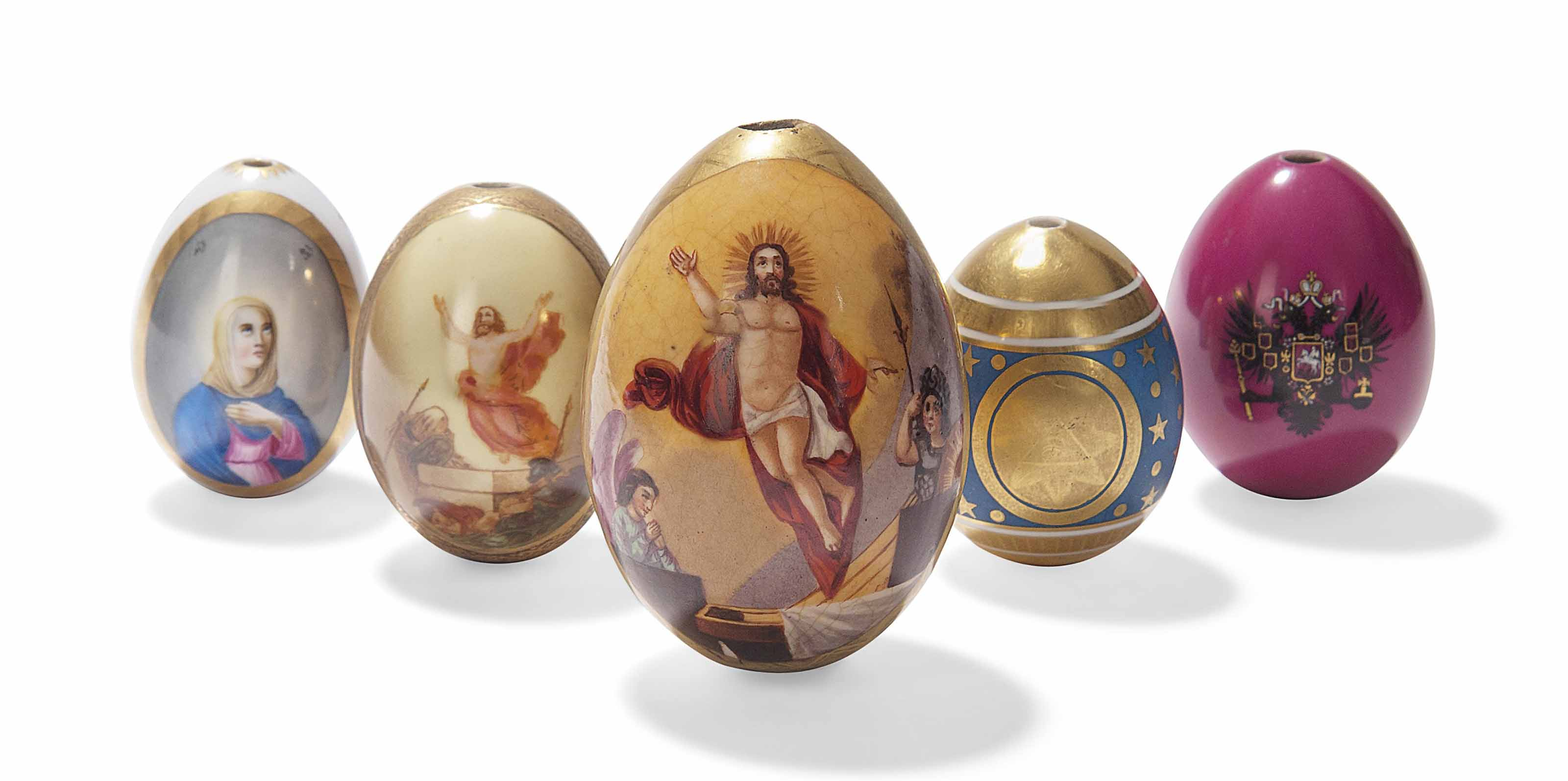 FIVE RUSSIAN PORCELAIN EASTER
