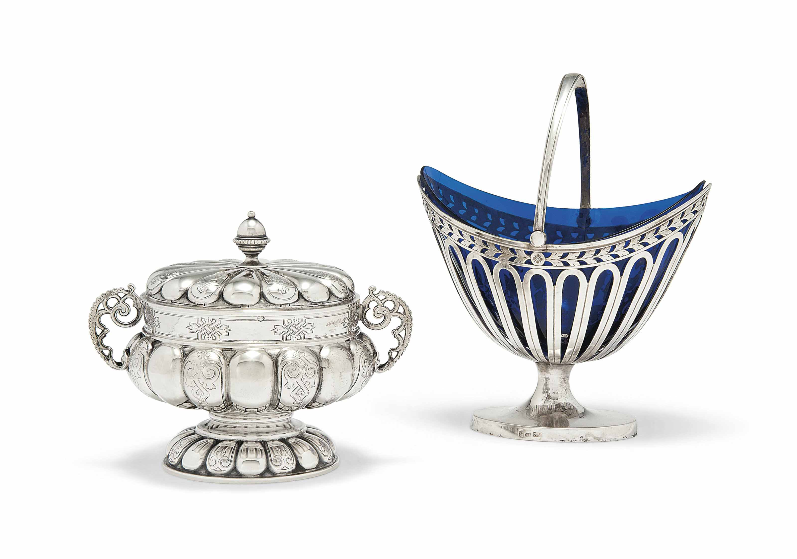 A RUSSIAN SILVER SWING-HANDLED