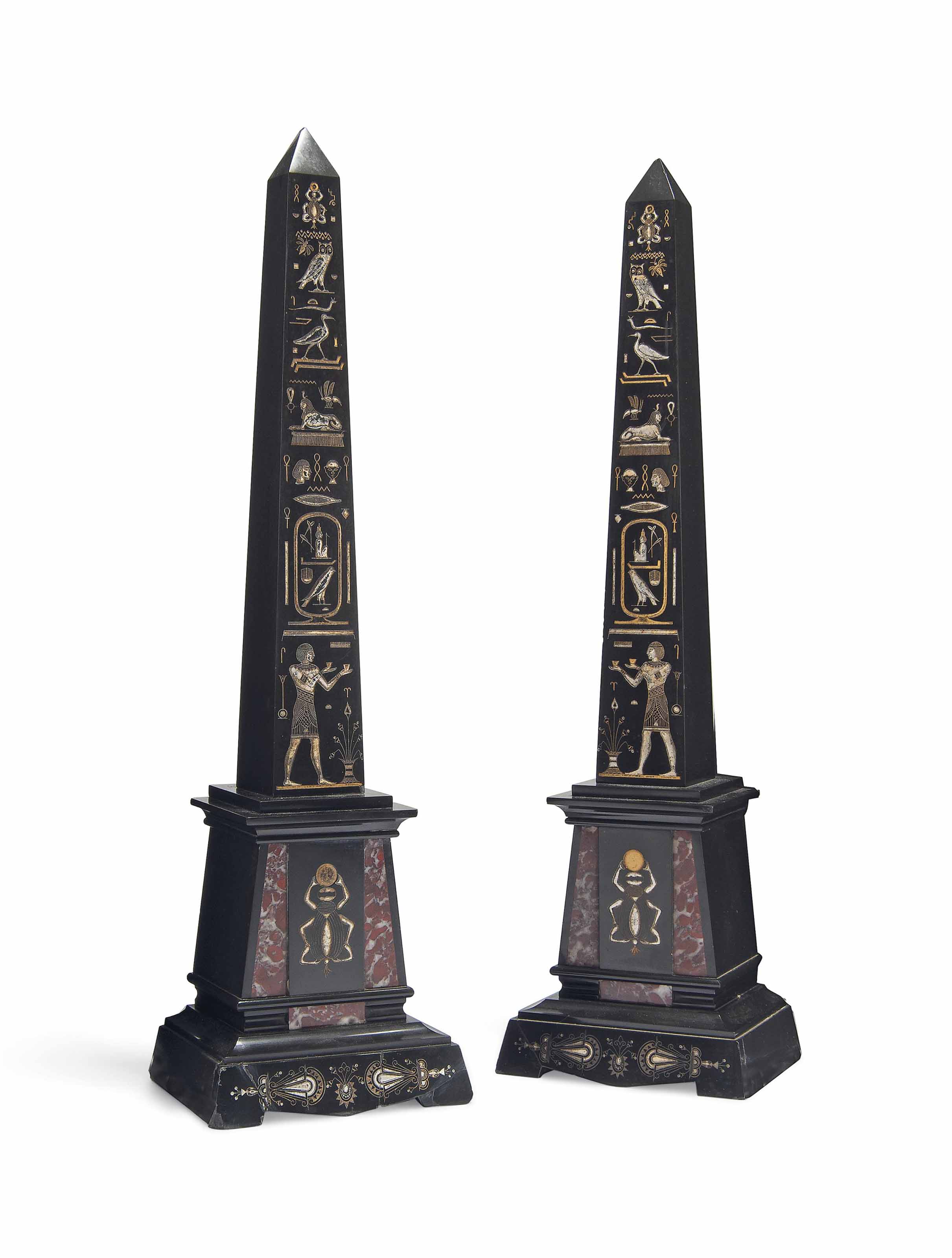 A PAIR OF EGYPTIAN REVIVAL MAR